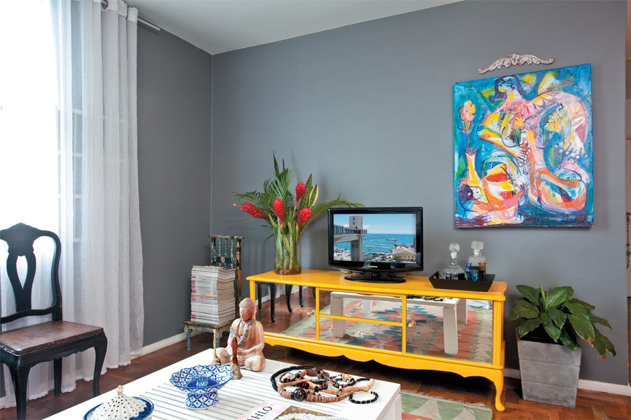 Sala De Tv Parede Cinza ~ Pequeno Muffin  Lara Reis #Decoração&Casa  Parede cinza